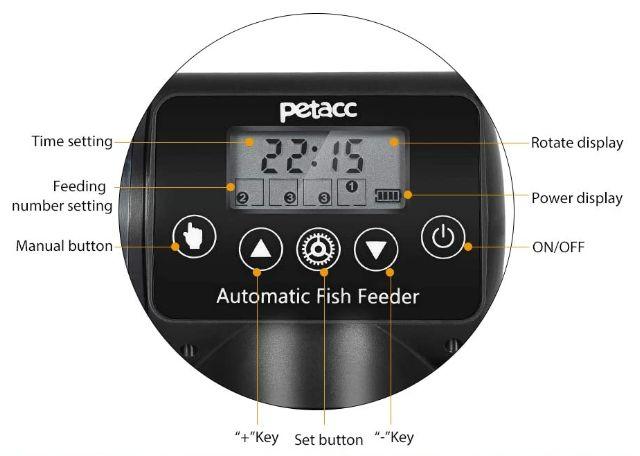 display y programador del alimentador Petacc